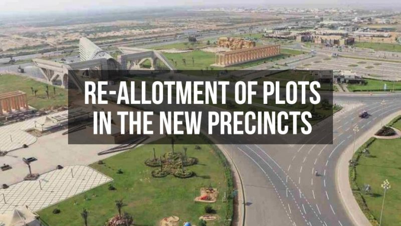 Re-allotment of plots in the new precincts of Bahria Town Karachi