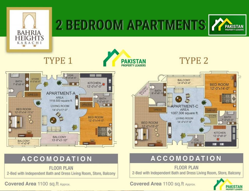 Bahria Heights - 2 Bedroom Apartments Layout