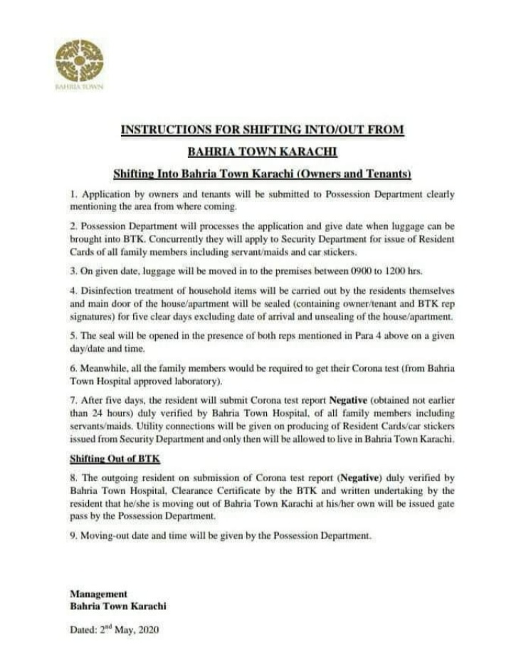 Bahria Town Instructions for shifting during Corona