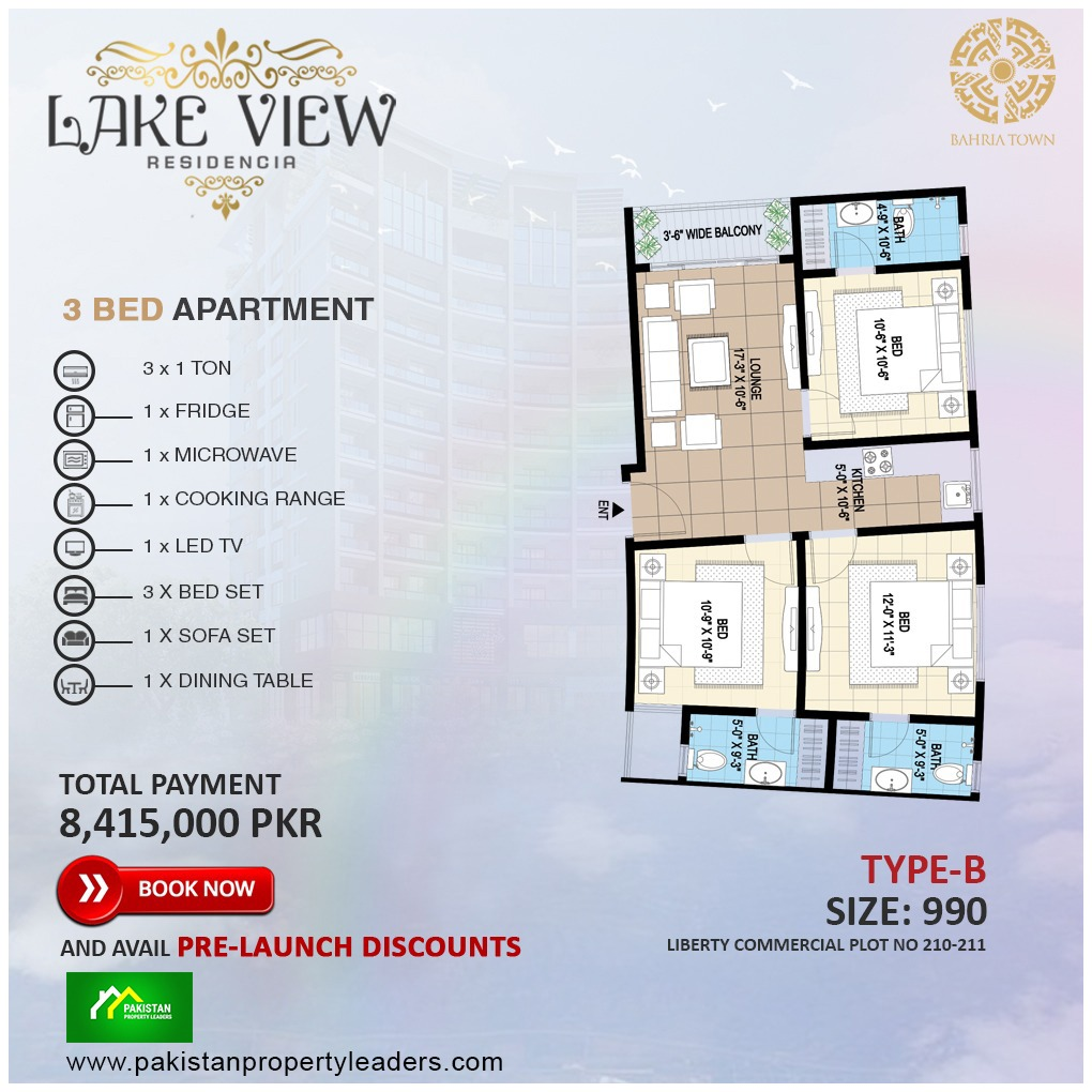 Lake View 3 Bed Furnished Apartment type B