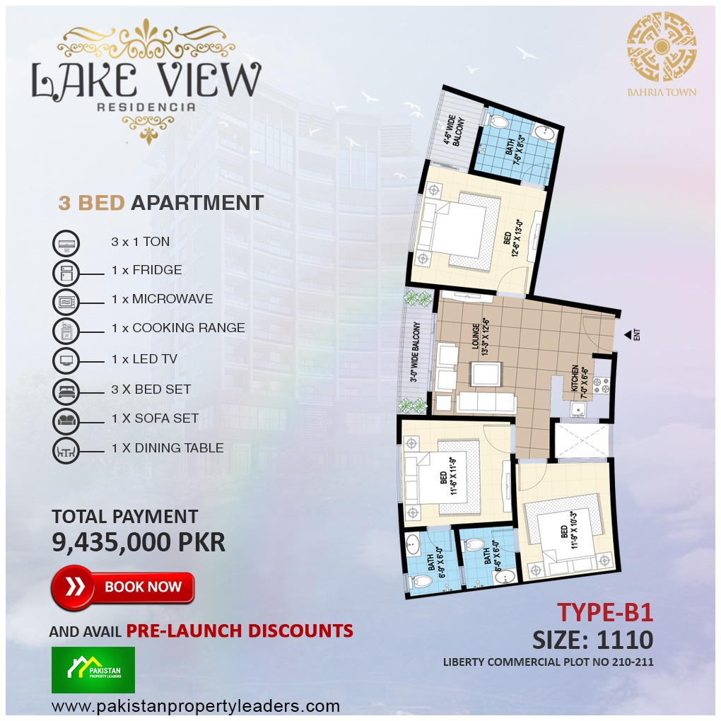 Lake View 3 Bed Furnished Apartment B1