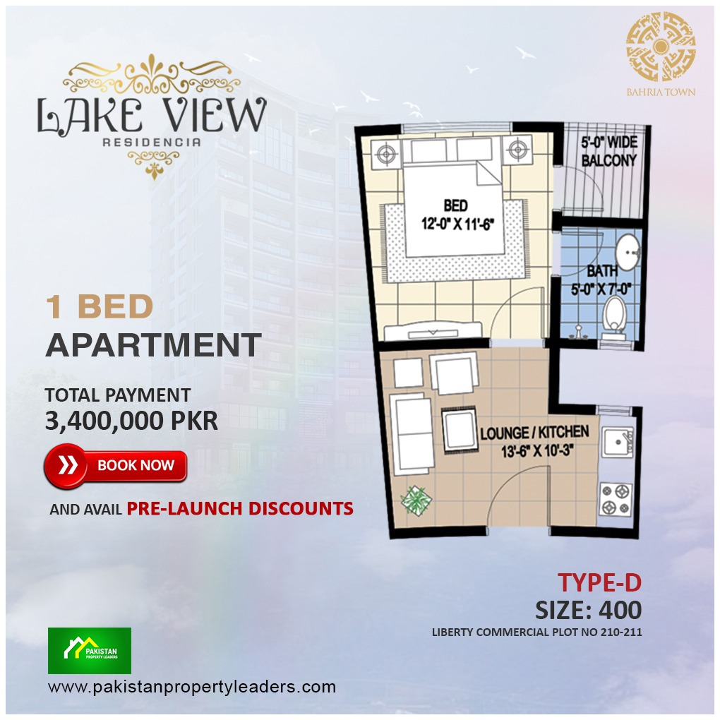 Lake View 1 Bed Furnished Apartment type D